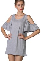 Yacun Women's Off Shoulder Short Mini Casual Tunic Dress Shirt _XL