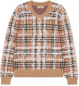 Burberry Printed Checked Merino Wool Sweater - Beige