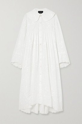 Simone Rocha Scalloped Embroidered Cotton-poplin Maxi Dress - White