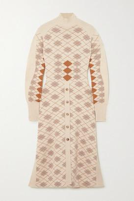 Chloé Paneled Argyle Wool And Cashmere-blend Midi Dress - Cream