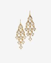 White House Black Market Goldtone Diamond Shapes Chandelier Earrings
