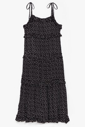 Nasty Gal Womens Don't Take It to Heart Tiered Midi Dress - Black