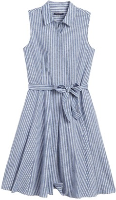 Tommy Hilfiger Striped Tie Waist Fit & Flare Shirt Dress