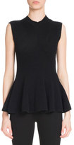 Givenchy Sleeveless Crewneck Peplum Sweater, Black