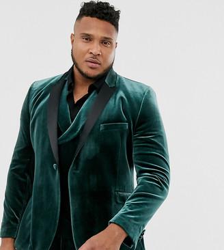Asos Design DESIGN Plus super skinny tuxedo jacket in forest green velvet