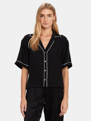 ATM Anthony Thomas Melillo Hammered Short Sleeve Silk Crop Shirt