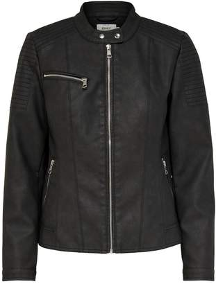 Only Short Zip-Up Jacket in Faux Leather