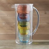 Crate & Barrel Pitcher with 4 Bubble Tumblers