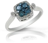 Effy Jewelry Diversa S. Silver Blue and White Diamond Square Ring