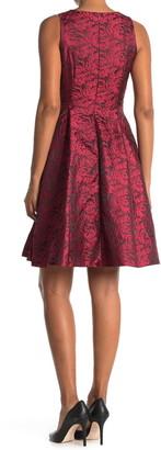 Catherine Malandrino Floral Jacquard V-Neck Sleeveless Fit & Flare Dress