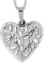 Sabrina Silver Sterling Silver Heart with Cut-outs Pendant, 7/8 inch tall