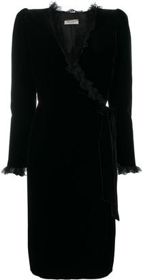 Saint Laurent Wrap Lace-Trim Dress