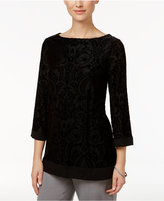 Charter Club Petite Velvet Boat-Neck Tunic, Only at Macy's