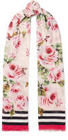 Dolce & Gabbana Printed Modal And Cashmere-blend Voile Scarf - Pink