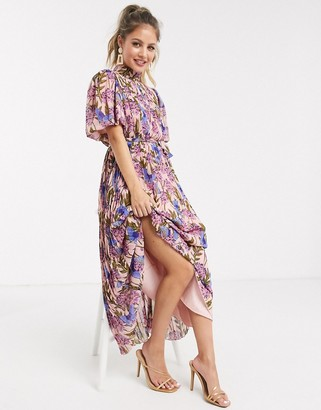 Forever U pleated midaxi dress in blush floral