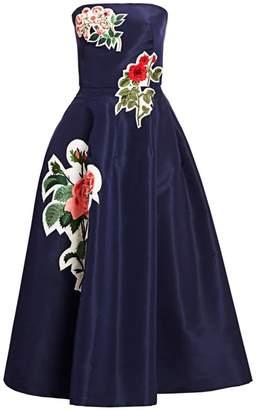 Oscar de la Renta Floral-Applique Strapless Silk Dress