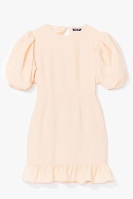 Nasty Gal Womens Volume Sleeve Open Back Plain Crepe Tea Dress - Yellow - 10, Yellow