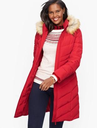 Talbots Faux Fur Trim Down Puffer Coat