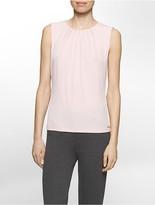 Calvin Klein Pleated Neck Sleeveless Top