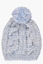 Boohoo Lily Glitter Knit Pom Beanie Hat