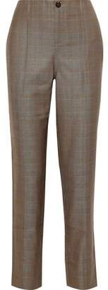 Ganni Prince Of Wales Checked Silk And Wool-blend Straight-leg Pants