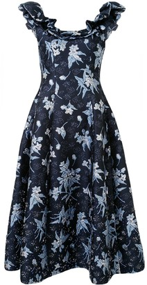 DELPOZO Floral-Matelasse Ruffle-Trimmed Dress
