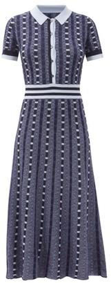 Gabriela Hearst Elvis Knitted Cashmere-blend Midi Dress - Blue Multi