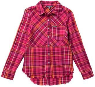 Calvin Klein Frayed Flannel Shirt (Big Girls)