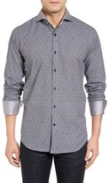 Bogosse Men's Elias Trim Fit Contrast Trim Dobby Sport Shirt