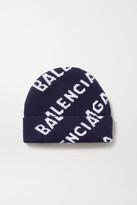 Thumbnail for your product : Balenciaga Intarsia Wool-blend Beanie - Blue