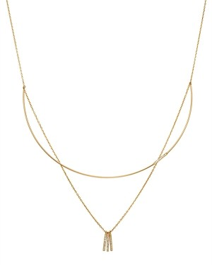 Moon & Meadow Diamond Wire Collar & Chain Layered Necklace in 14K Yellow Gold, 0.32 ct. t.w. - 100% Exclusive