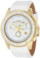 Akribos XXIV Women's AK621YGW Lady Diamond Swiss Quartz Crystal Mother-of-Pearl Gold-tone Stainless Steel White Leather Strap Watch