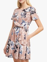 French Connection Amalfi Floral Belted Dress, Cinder Pink/Multi