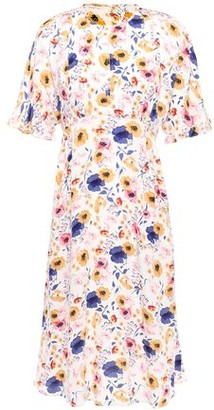 By Ti Mo Ruffle-trimmed Floral-print Crepe Dress
