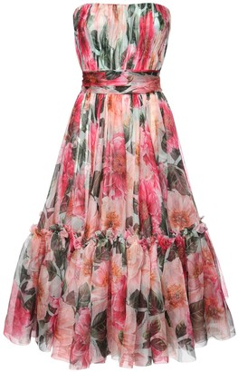 Dolce & Gabbana Camelia Print Silk Organza Bustier Dress