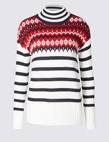 M&S Collection Fairisle Print Striped Turtle Neck Jumper