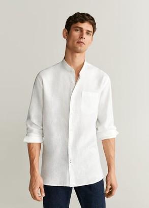 MANGO MAN - 100% linen regular fit shirt white - XS - Men
