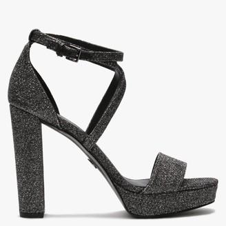 Michael Kors Charlize Black Glitter Platform Sandals