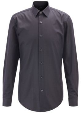 Slim-fit shirt in micro-dot stretch cotton