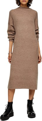 Topshop Ribbed Long Sleeve Funnel Neck Midi Sweater Dress