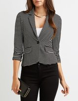 Charlotte Russe Striped Ruched Sleeve Blazer
