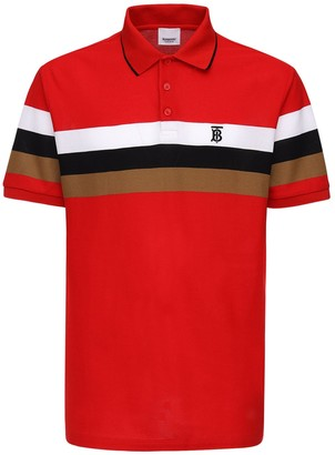 Burberry Heritage Striped Cotton Pique Polo Shirt