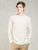 Wings + Horns White Felted Wool L/s Sweater