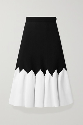 Alexander McQueen Two-tone Stretch-knit Midi Skirt - Black