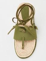 Very Hollie Leather Tie Leg Espadrilles - Khaki