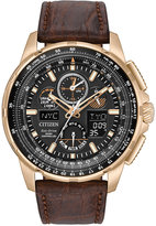Citizen Men's Analog-Digital Chronograph Skyhawk A-T Brown Leather Strap Watch 47mm JY8056-04E