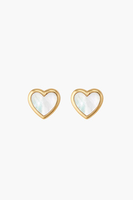 Asha Heart Mother of Pearl Stud Earrings