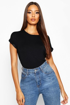boohoo Boxy Turn Cuff Basic T-Shirt