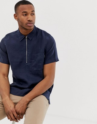 Paul Smith short sleeve linen zip shirt in navy
