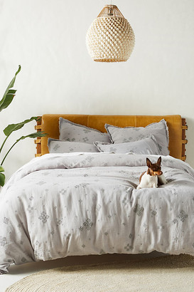 Anthropologie Embroidered Dorthea Duvet Cover By in Grey Size Q top/bed